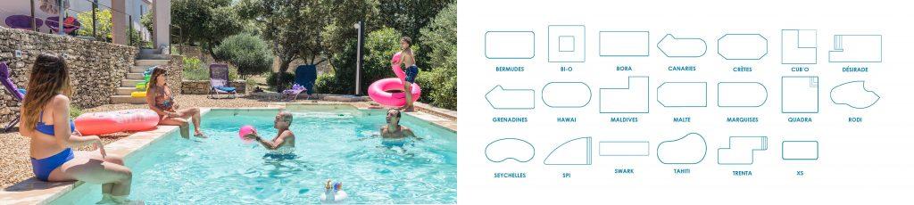 Tous nos modèles de piscines Aquilus - personnalisables à l'infini.