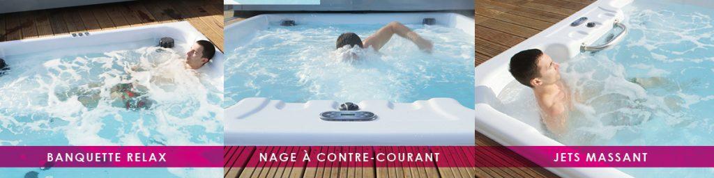 La M'water d'Aquilus la mini piscine / spa pour nager, se relaxer, se faire masser, se baigner en toute saison
